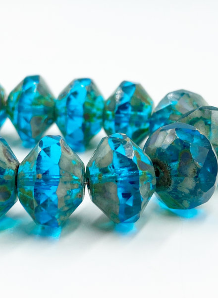 9x14mm Saucer Pacific Blue Picasso