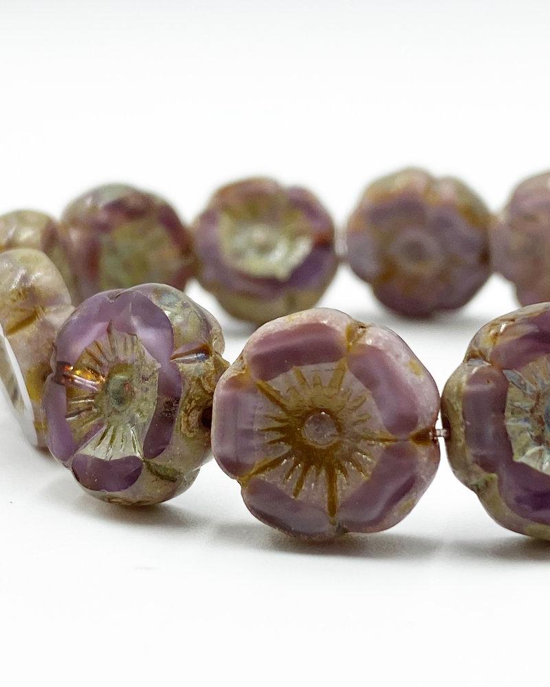 12mm Hibiscus Flower Plum Grape Picasso