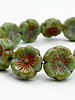 12mm Hibiscus Flower Sea Green Picasso