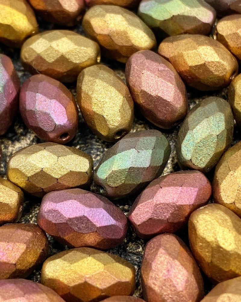 12x8mm Barrel Bead- Golden Metallic- 6 Beads