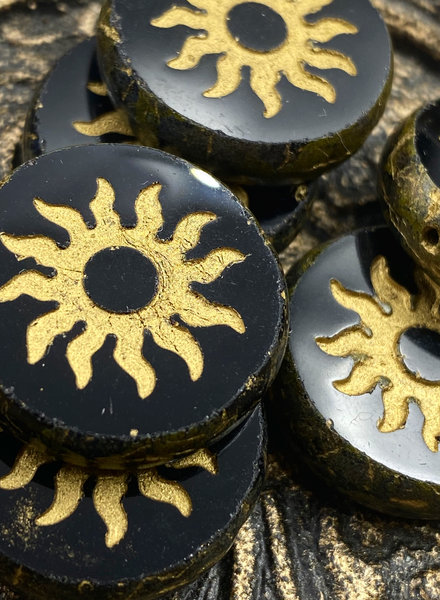 22mm Sun Coin- Black Gold Picasso- 1 BEAD