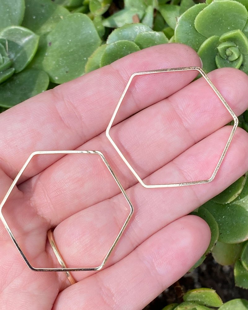 36mm Hexagon: Gold- 1 Pair