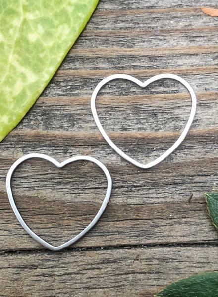Heart: Silver- 1 Pair