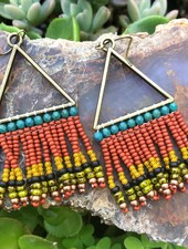 Beaded Triangle Earrings  Antique Brass: Boho Bold