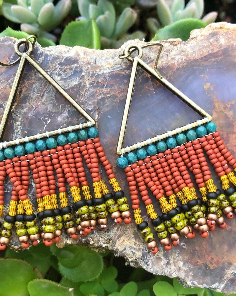 Beaded Triangle Earrings  Antique Brass: Boho Bold