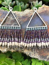 Beaded Triangle Earrings  Silver: Grey/Purple