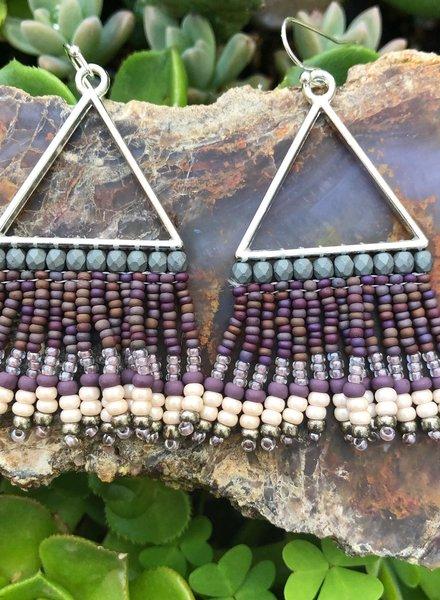 Beaded Triangle Earrings  Silver: Grey/Purple
