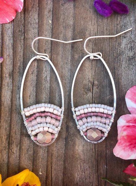 Beaded Loop Earrings  Silver: Soft Pink
