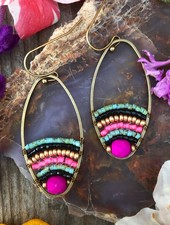 Beaded Loop Earrings  Antique Brass: Bold Boho
