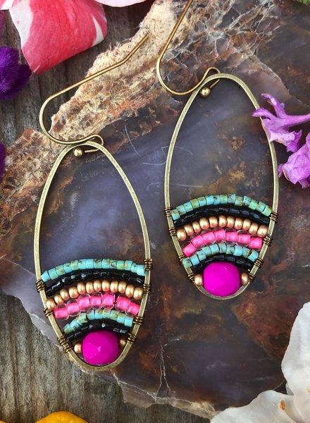 Beaded Loop Earrings  Antique Brass: Bold Boho