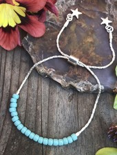 Sliding Chain Bracelet KITS  Silver: Turquoise Beads