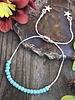 Sliding Chain Bracelet KITS  Silver: Turquoise Beads