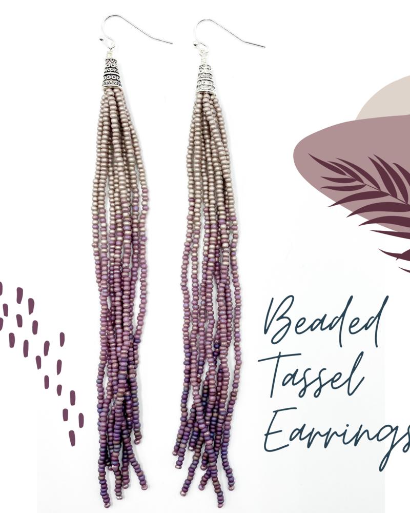 Beaded Tassel Earrings KIT: Purple Ombre
