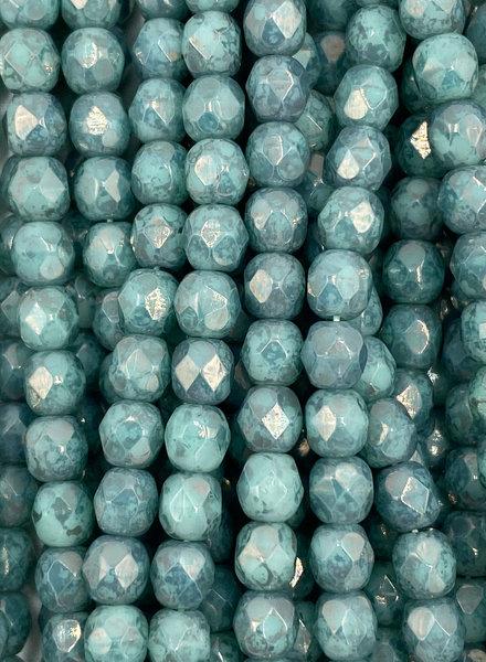Firepolish 4mm : Green Turquoise Mottle