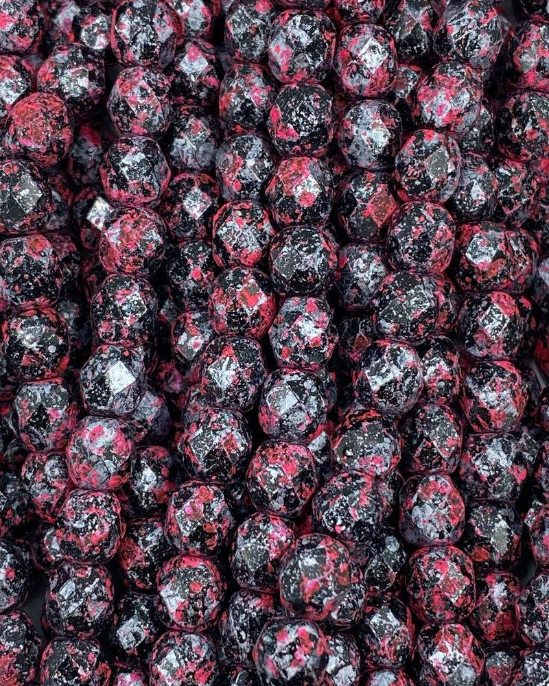 Firepolish 6mm : Pink Splatter