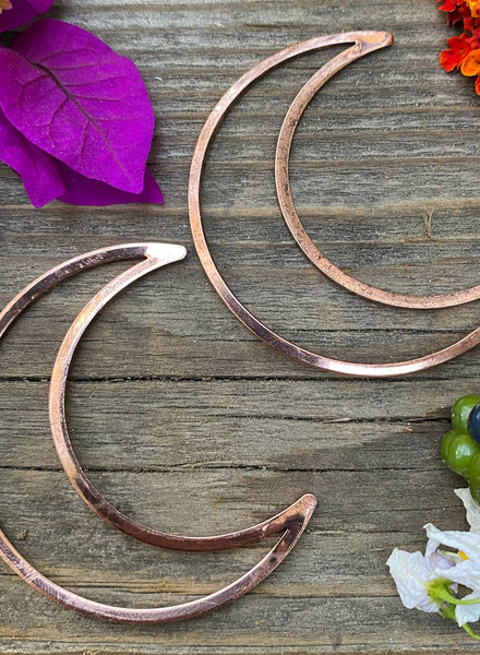 Large Moon: Rustic Copper- 1 Pair