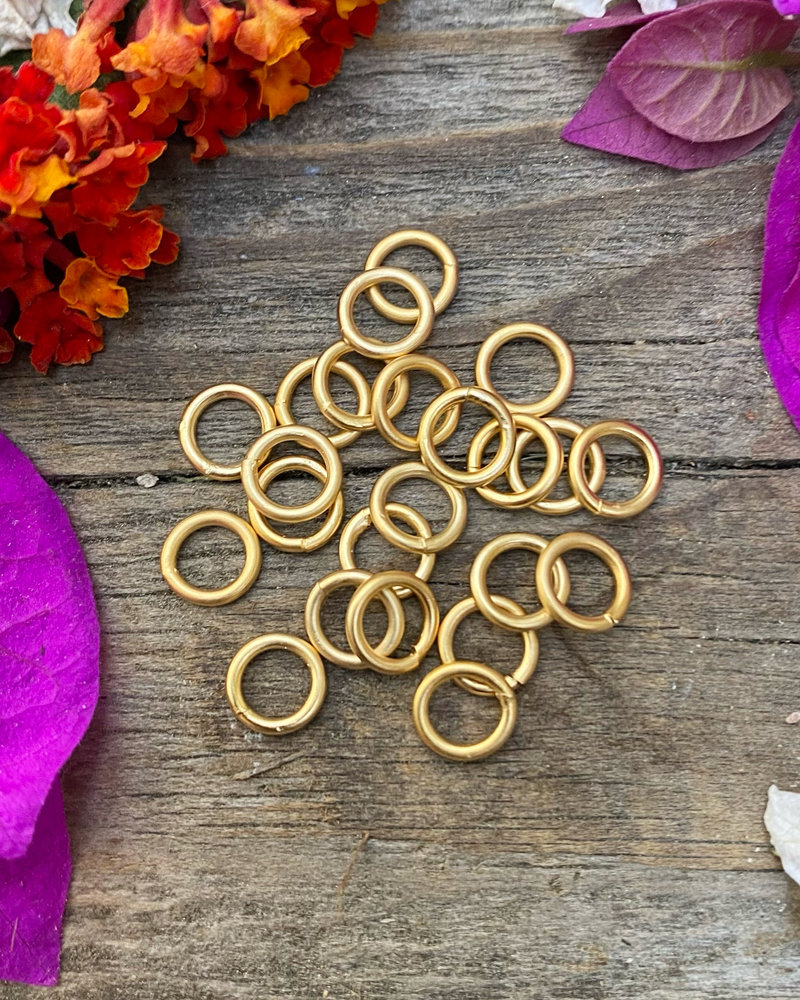 Satin Gold: 6mm Jumpring 24pc. SOLDERED CLOSED