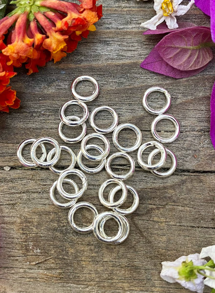 Silver: 6mm Jumpring 24pc. SOLDERED CLOSED