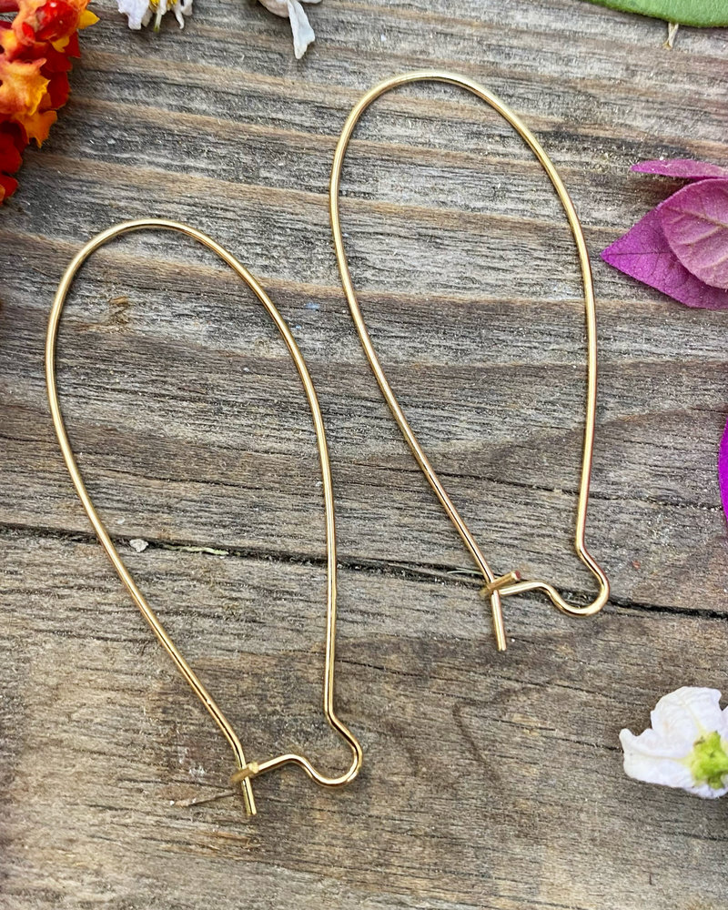 Gold Kidney Wire 18x47- 1Pair
