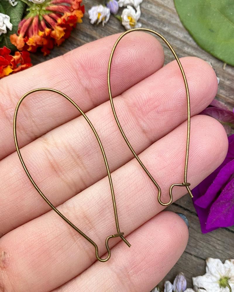Antique Brass Kidney Wire 18x47- 1Pair