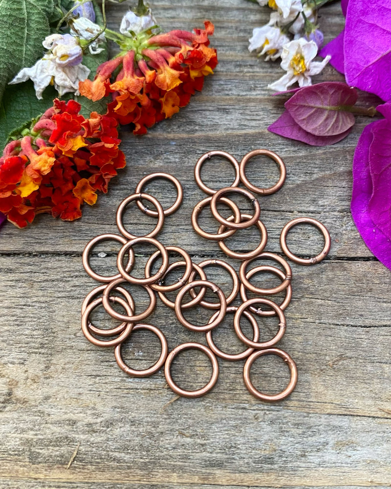 Antique Copper 8mm Jumpring 24pc. SOLDERED CLOSED