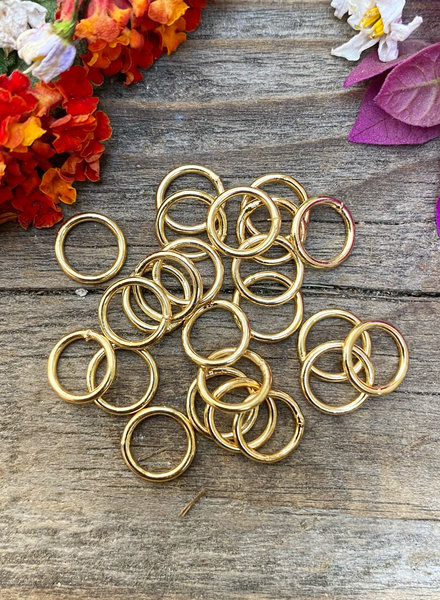 Gold: 8mm Jumpring 24pc. SOLDERED CLOSED