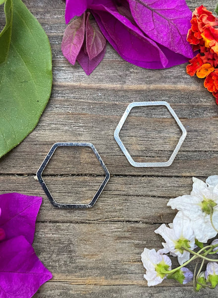 17mm Hexagon: Silver- 1 Pair
