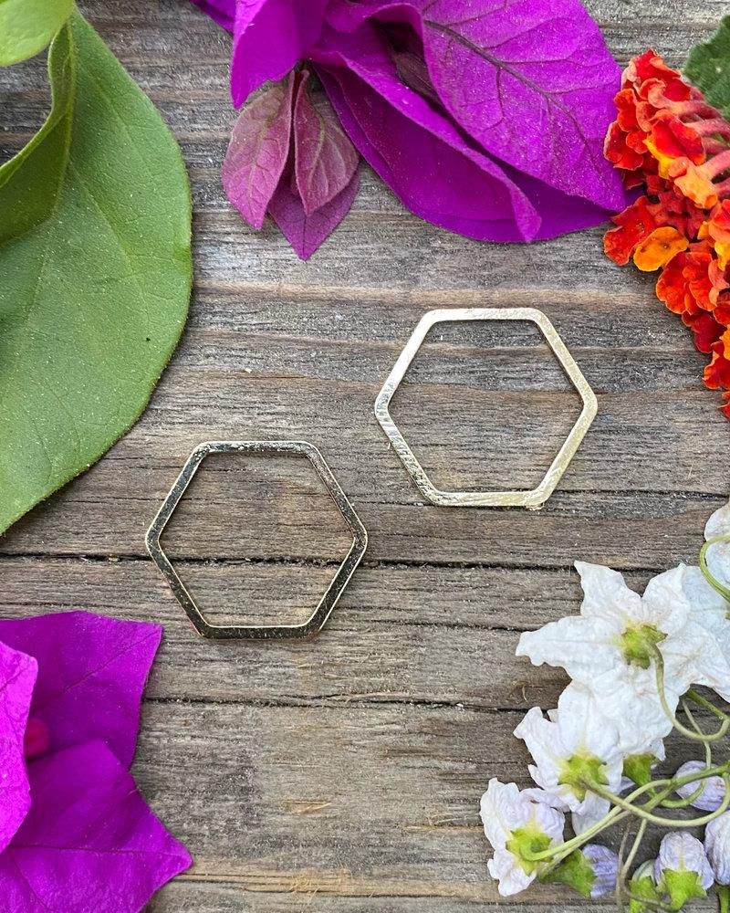 17mm Hexagon: Gold- 1 Pair