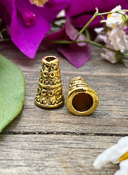 10x6mm Rustic Cone - Gold- 6pc.