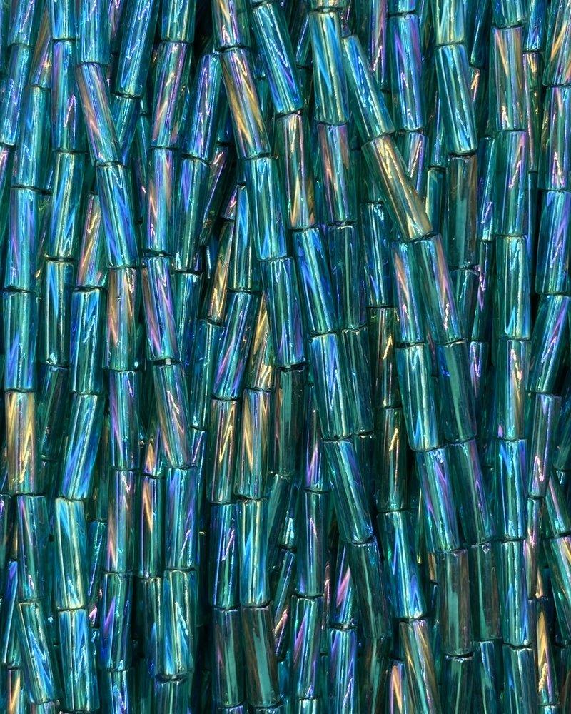 SIZE 7mm Twisted Bugle #41 Emerald  Rainbow