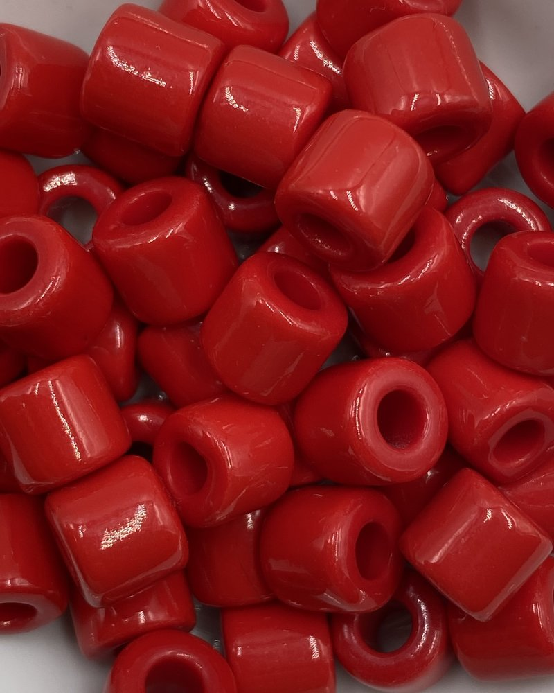 7mm Crow Bead #107 Red- 50pc.