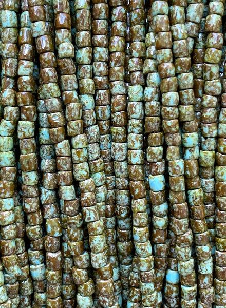 Size 9/0 Three Cut Seed Beads- #967 Blue Turquoise Travertine