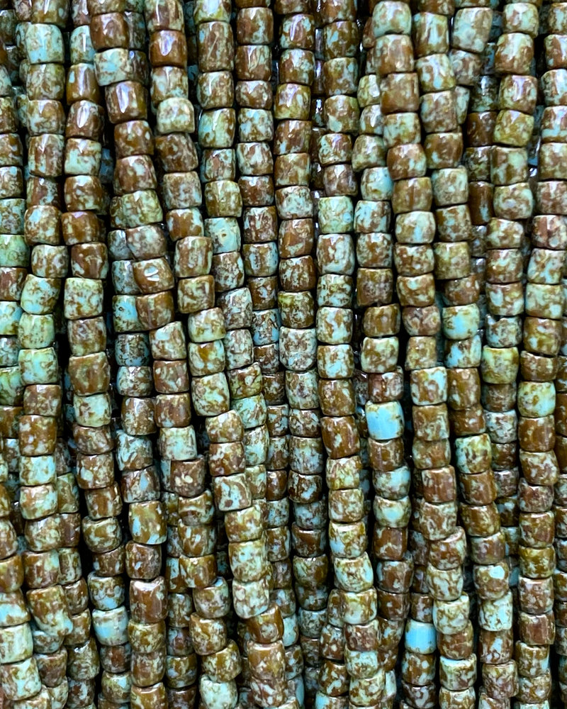 Size 9/0 Three Cut Seed Beads- #967 Blue Turquoise Travertine