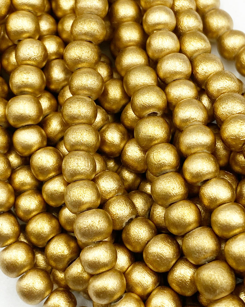 6mm Wood Beads: Metallic Gold