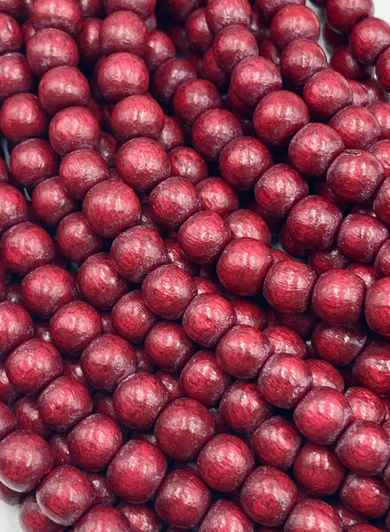 6mm Wood Beads: Cranberry