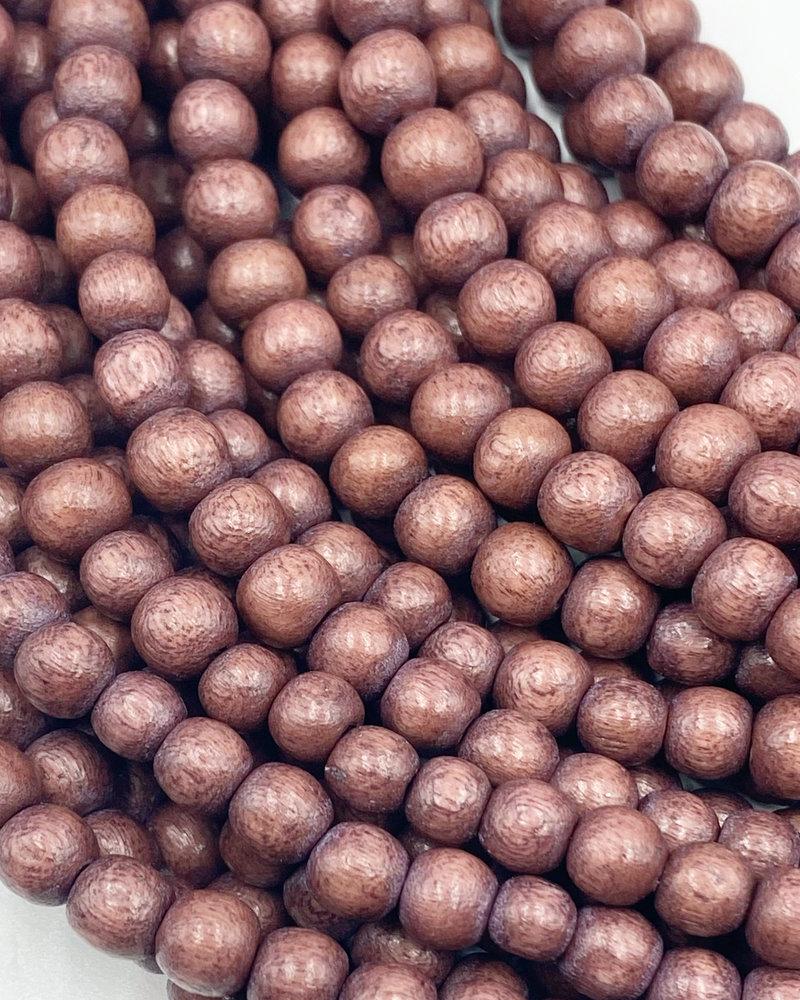 6mm Wood Beads: Dusty Burgundy