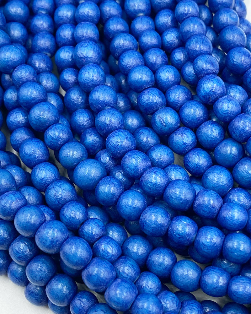 6mm Wood Beads: Cerulean Blue