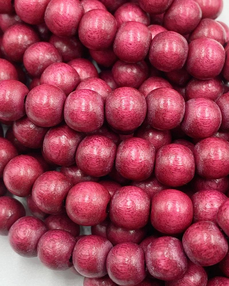 8mm Wood Beads: Fuchsia