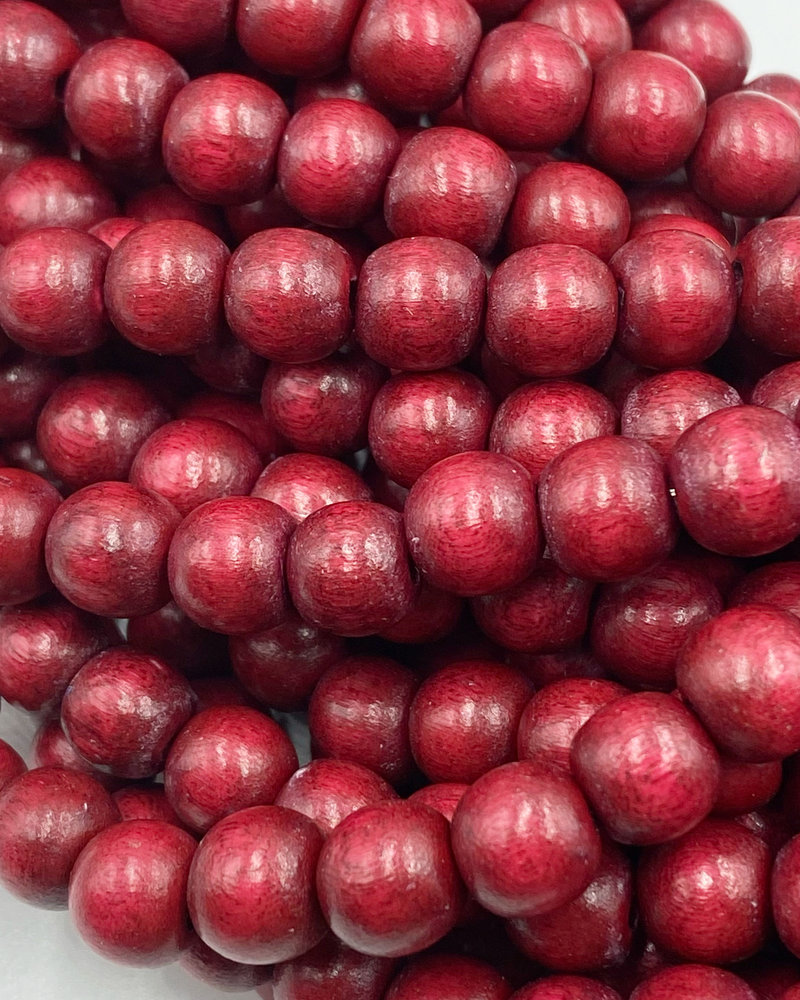 8mm Wood Beads: Cranberry