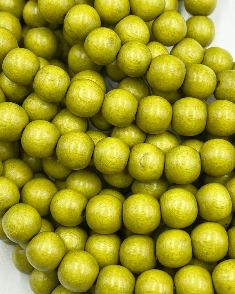 8mm Wood Beads: Chartreuse