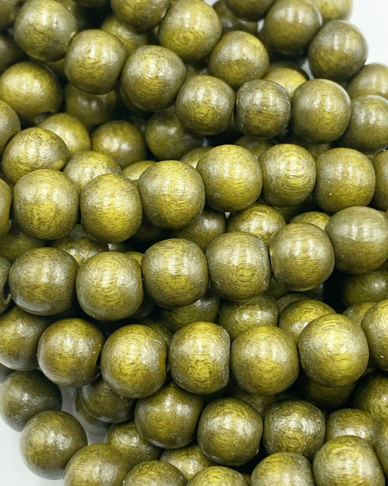 8mm Wood Beads: Golden Olive