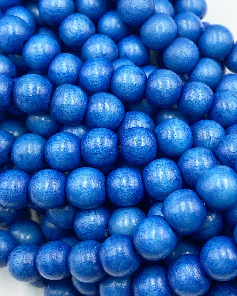 8mm Wood Beads: Cerulean Blue