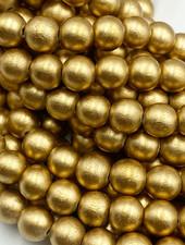8mm Wood Beads: Metallic Gold