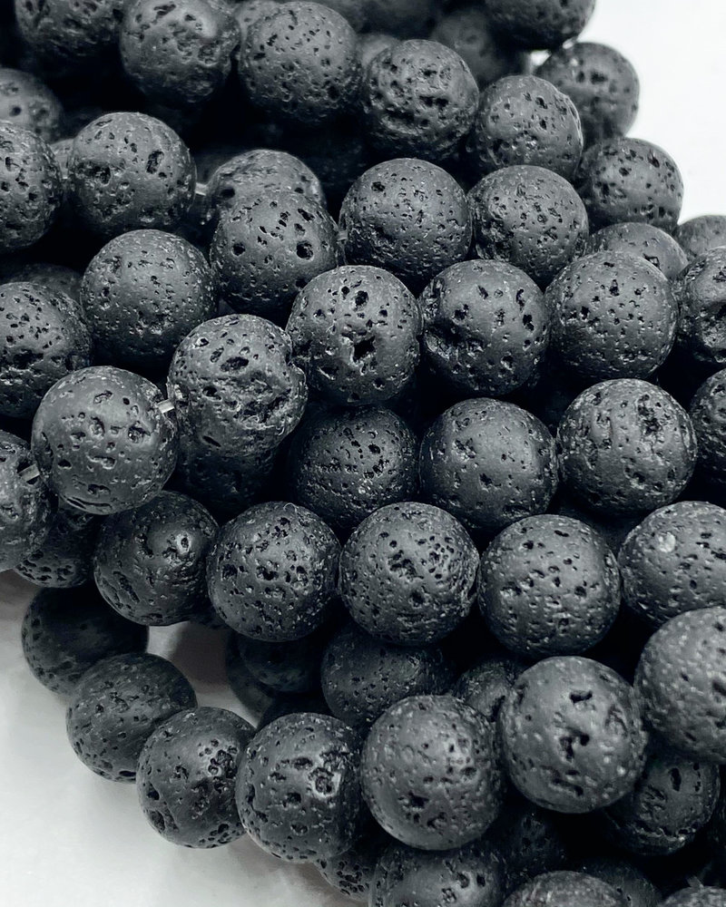 8mm Black Lava Stone