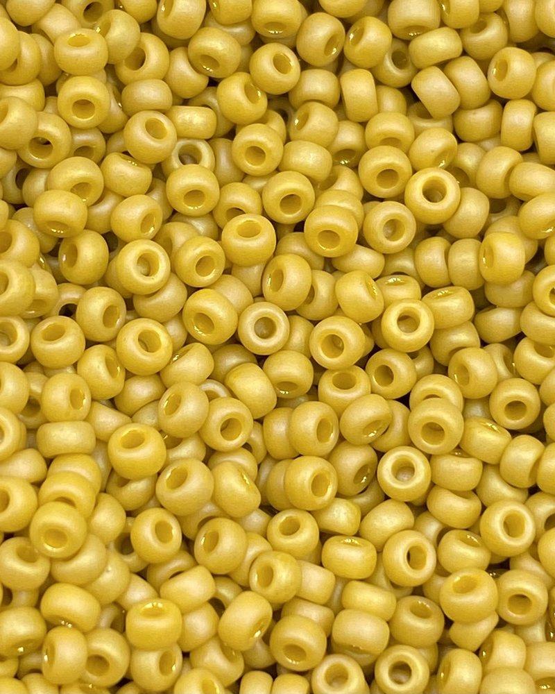 Size 11/0 Miyuki Round: Frost Op Glaze Rnbw Yellow