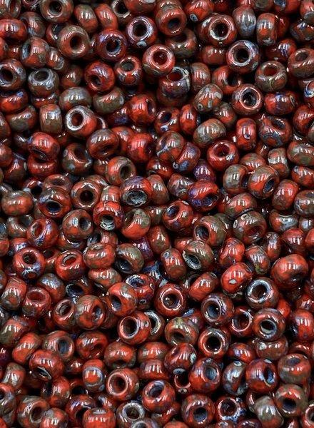 Size 11/0 Miyuki Round: Red Garnet Picasso