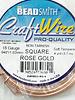 18GA SQUARE CRAFT WIRE - ROSE GOLD