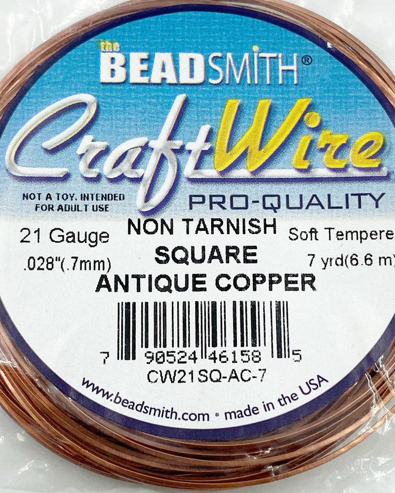 21GA SQUARE CRAFT WIRE - ANTIQUE COPPER