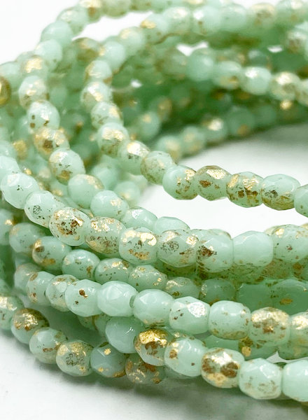 Firepolished 3mm : Mint with Gold