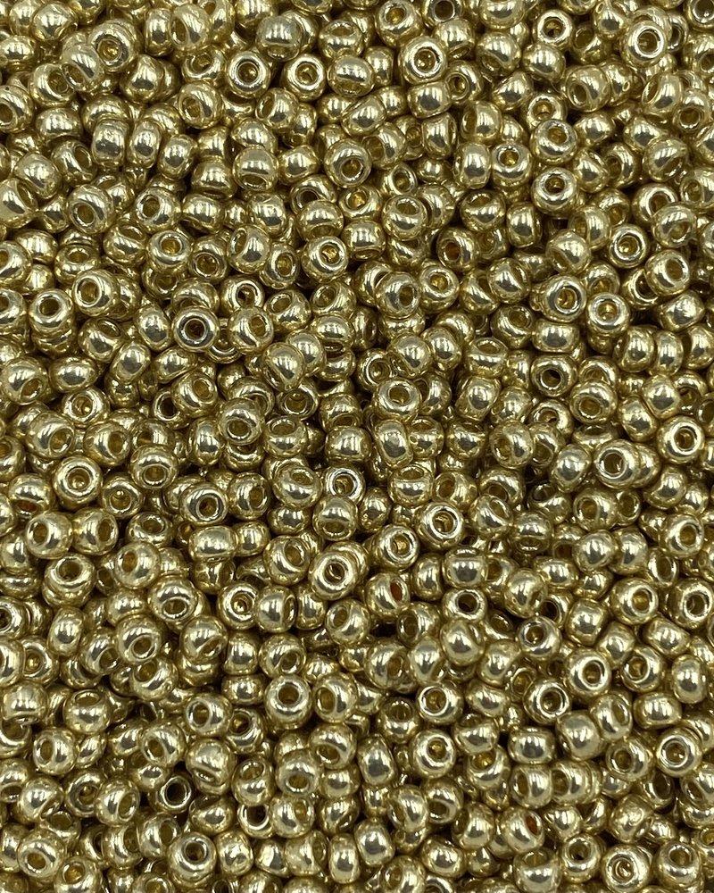 Size 11/0 Miyuki Round: Duracoat Galvanized Pale Gold